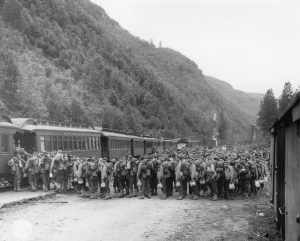 699png 340th Engineers Co. A,B,C & E on WP&YR from Skagway to Carcross