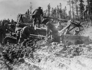 Black engineers continue to fight the road and the mud on the Alaska Highway. 1942