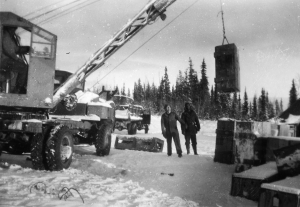 Crane used to load crates for the Black Regiment's next assignment, the Aleutians. 1942